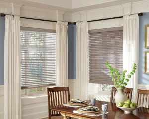 Wooden blinds in kitchen