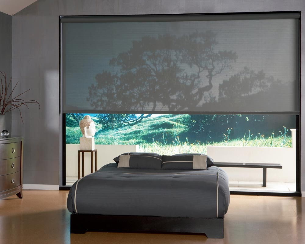 solar shade blind in contemporary bedroom