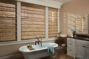 Woven wooden shades in a bathroom