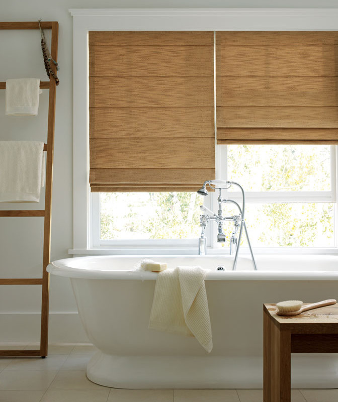 Bathroom with Woven Blinds